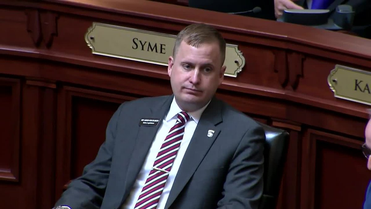 Idaho state Rep. Aaron von Ehlinger, right, a Republican from Lewiston, resigned amid an...