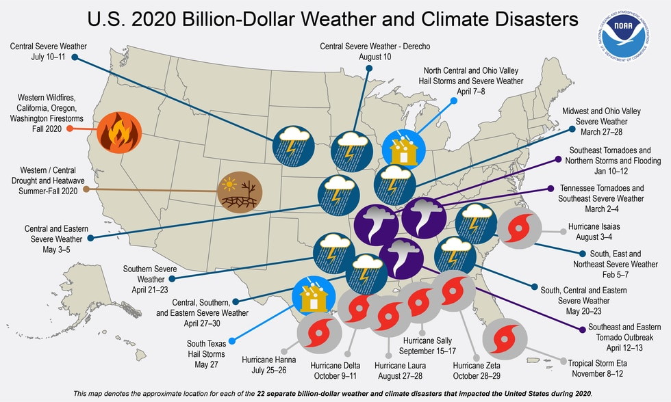 Map of the 22 billion dollar natural disasters in 2020.
