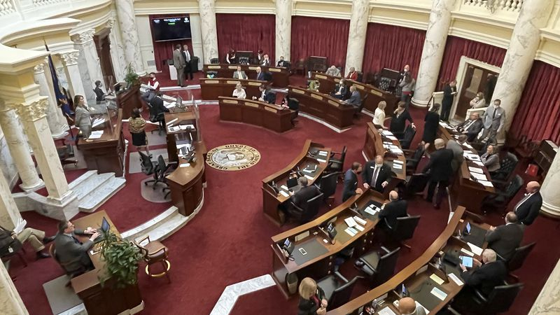 FILE - In this Friday, Jan. 15, 2021, file photo, the Idaho Senate gathers in the Statehouse in...