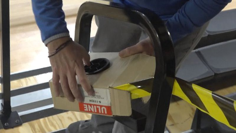 Jerome High School tapes off sections to where fans cannot sit at the basketball or wrestling...
