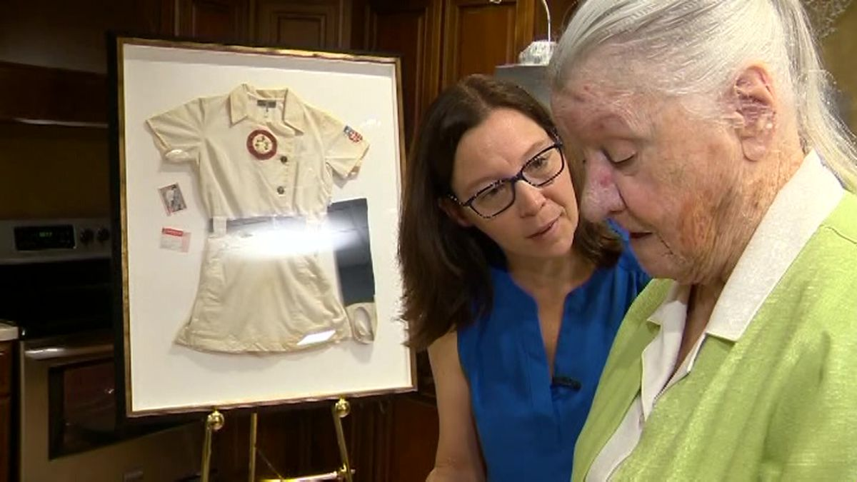 Karen Reemey had no idea when she started her new job at an assisted living facility that she'd be caring for one of her childhood idols - baseball player Marie Mansfield. (Source: WCVB via CNN)