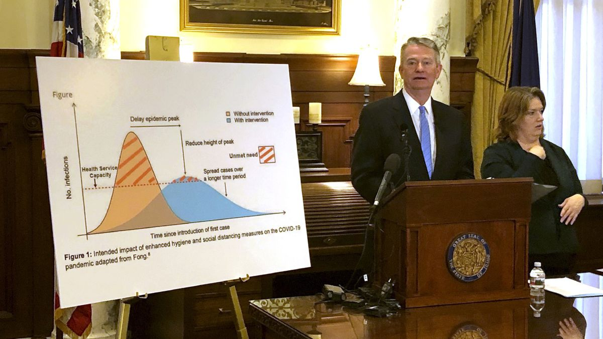 FILE - In this March 13, 2020 file photo, Idaho Gov. Brad Little speaks at a news conference in Boise, Idaho and proclaims a state of emergency in Idaho in hopes of preventing the spread of the new coronavirus. (AP Photo/Keith Ridler, File)