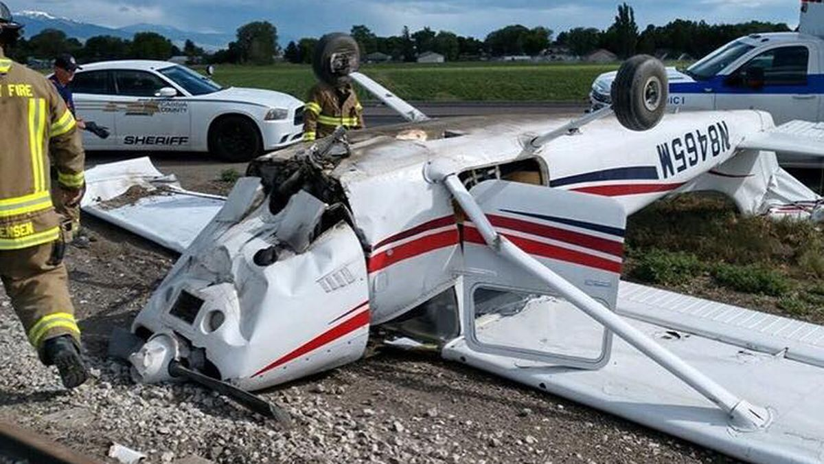 A plane crashes at the Burley Municipal Airport, landing near Highway 30.